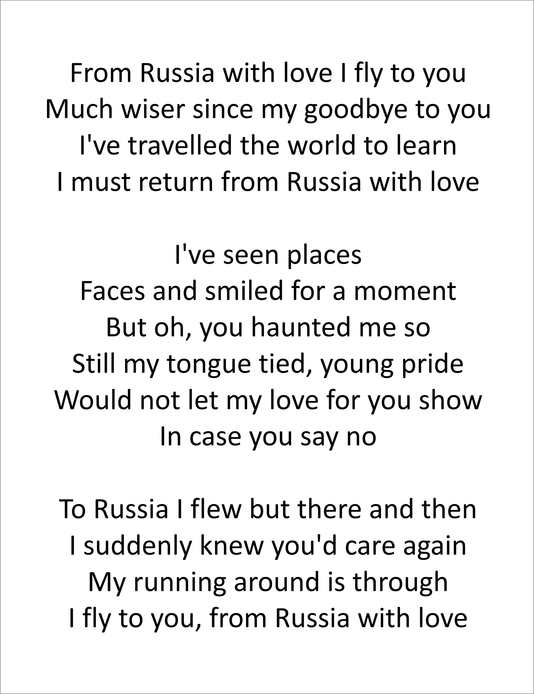 From Russia letra